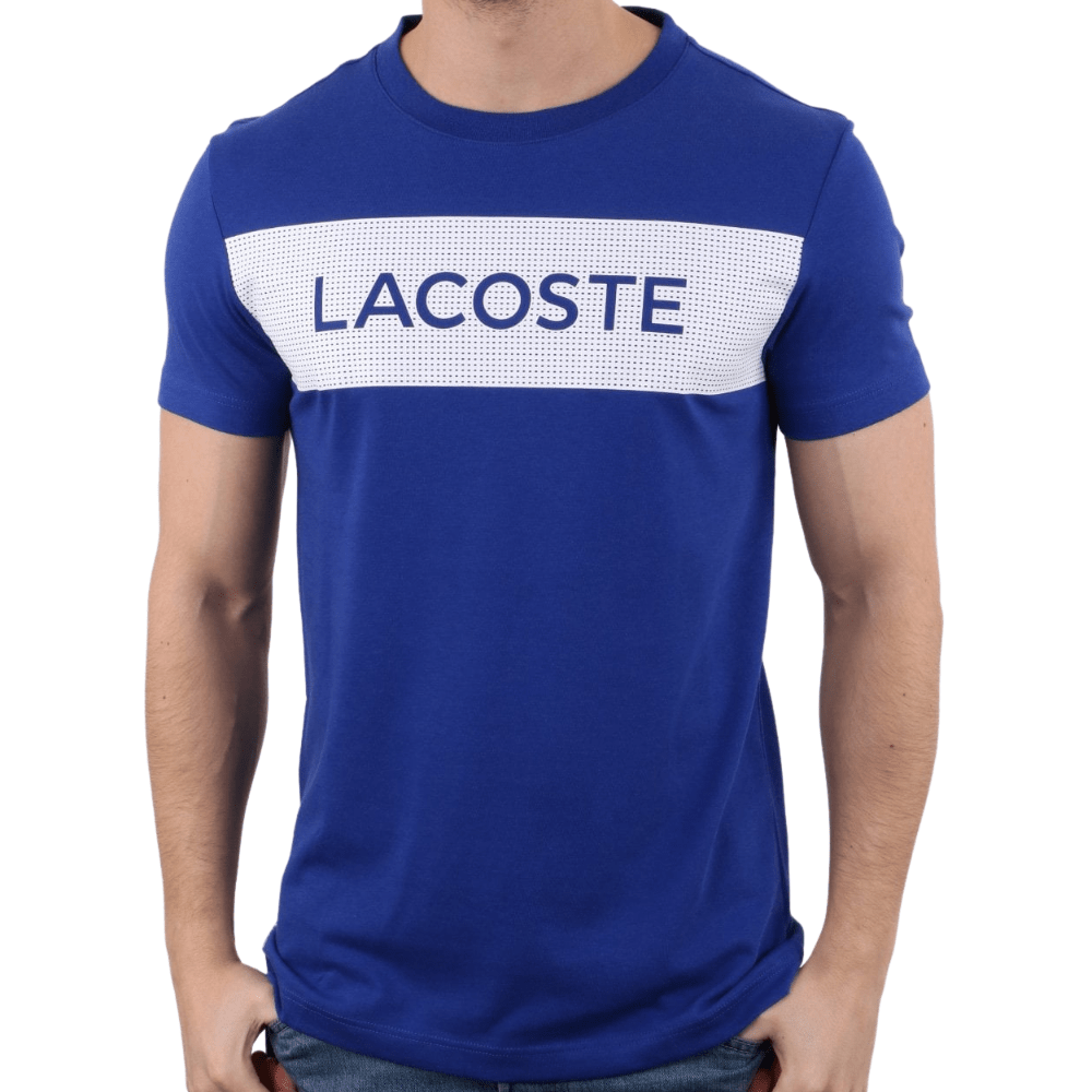 LACOSTE Blue And White Mens T-Shirt