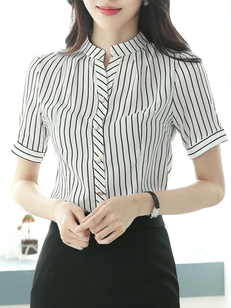 Stand Collar Striped Short Sleeve Blouse
